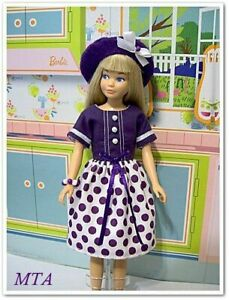 CRAZY FOR GRAPE~Dress~Beret~Bracelet~Hair Ribbons~Fits Vintage Skipper~Handmade