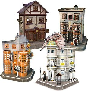 Harry Potter Diagon Alley 3D Puzzle Set 4 Bank Wand Shop Quidditch Weasley