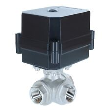 "1/2"" NPT, 3-way, 12V DC, Motorized Ball Valve, Stainless Steel / PTFE  3-wire"