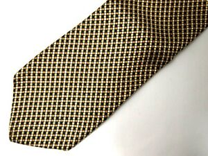 Brooks Brothers Makers Boys Necktie Tie Navy Blue Gold Micro Checkered Skinny