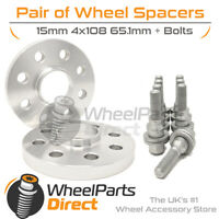 Wheel Spacers (2) & Bolts 15mm for Peugeot 206 98-10 On Original Wheels