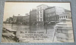 1913 32 N Main St from Court House, Dayton OH FLOOD Postcard Dated 3-26-13