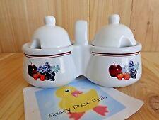 Double Jam Pot White Ceramic Fruits Houston Harvest Jelly Honey Sugar NO SPOONS