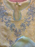 NEW!! 3 piece Indian Pakistani bollywood party salwar kameez cotton blue Small S