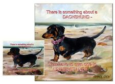 DACHSHUND HOUND DOG HARDBOARD PLAQUE LENS CLEANING CLOTH SANDRA COEN ARTIST