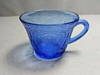 Vintage Hazel Atlas Royal Lace Blue Crystal Glass Tea Cup Coffee Mug