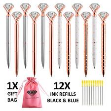 12 Big Diamond Ballpoint Pens Rose Gold 12 Ink Refills Black & Blue Fancy Gif...
