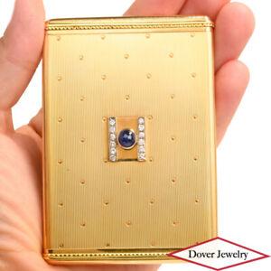 Cartier Antique Retro Diamond 1.1ct Sapphire 14K Gold Card Holder 72.3 Grams NR