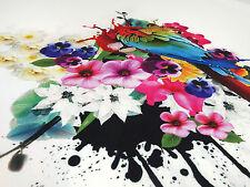 Stoff Ital. Designer Jersey Blumen Papagei Ara Rapportdruck 70cm ecrú bunt