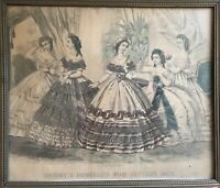 Godey's Fashions Framed Print January 1863 Hand Tinted Capewell & Kimmel