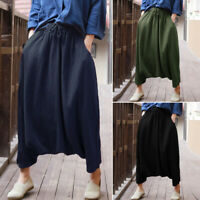 ZANZEA Women Plus Size Pull-On Pants Tapered Loose Elastic Waist Harem Trousers