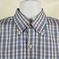 Peter Millar Seaside Finish Mens Blue Purple Plaid Check Dress Button Shirt Sz L