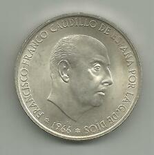 1966 SPAIN 100 SILVER PESETAS .4887 OZ 1969 in star Extremelly rare L4