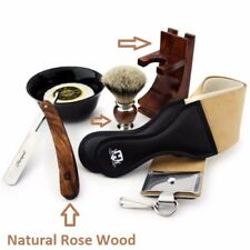 Classic Straight Razor Silver Tip Badger Brush 6 Pieces Shaving Set 4 Gentelman