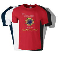 Eliminate You Virus Social Distance Mens Printed T Shirts Panic Crew Neck Tee