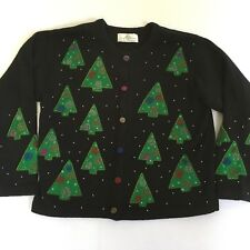 Design Options Sweater  Christmas Trees Beaded Philip & Jane Gordon XL
