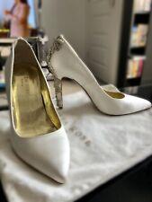 Freya Rose Ivory Satin Bridal Embellished Sparkly Shoes, size 5