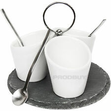 Grunwerg Commichef 7 Piece Slate & Porcelain Serving Set Jam Dip Condiment Sauce