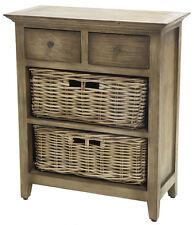 Vintage Shelving - 2 Drawer / 2 Basket Wood & Cane Shelf - Kubu Vintage