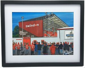 Swindon Town FC County Ground High Quality Framed Football Art Print. Approx A4.