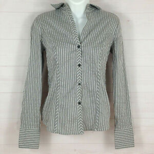The Limited womens size S striped gray collared long sleeve metallic button up