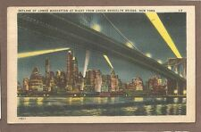 Vintage Postcard 1947 Manhattan Skyline From Brooklyn Bridge New York