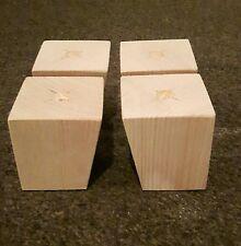 A set 4 wooden sofa feet furniture pine square legs chair settee