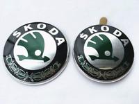 Green Front Hood 90mm Rear Tailgate 80mm Logo Emblem Nameplate For Skoda Option