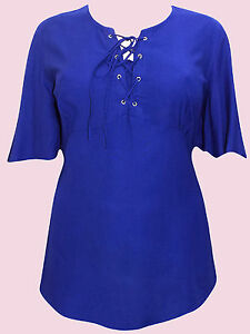 NEW Eaonplus DEEP BLUE Flared Sleeve Lace Up Tunic Top SIZES UK 18/20 to 30/32