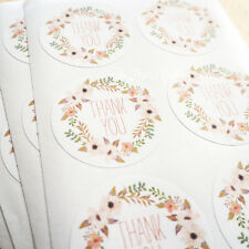 48 x FLORAL WREATH THANK YOU STICKERS Seals Rustic Wedding Favours Baby Shower