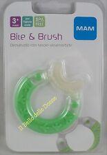 MAM BITE & BRUSH dentaruolo con setole morbide mesi 3+ Verde teether green