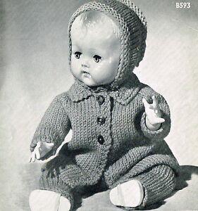 "Dolls clothes knitting pattern.14""-16"" doll. Laminated  copy (V Doll 97)"