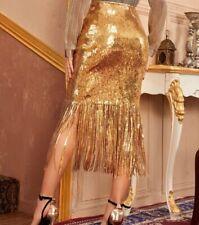 Gold Sequin  Glitter Sparkle Fringe Hem High Waist Tassel Midi Skirt