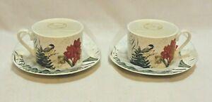 Grace Teaware Amaryllis & Birds Floral Porcelain Cup & Saucer Two 2 Pc. Sets New