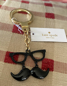 Kate Spade Mustache & Glasses Key Chain Hangtag Handbag Charm NWT