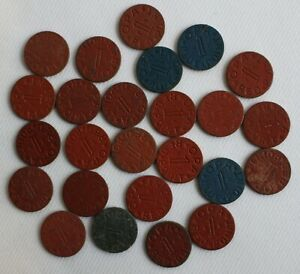 Lot of 25 OPA WWII Ration Tokens Red & Blue Point Tokens Different Letters Good