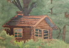 1956 Watercolor painting hut landscape drawing signed