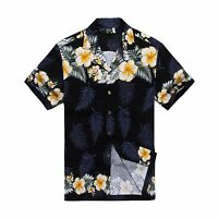 Men Tropical Hawaiian Aloha Shirt Cruise Luau Beach Party Navy Hibiscus Leaf