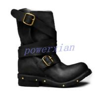 Womens Ankle Strap Boots Motorcycle Knight Punk Buckle Round Toe Shoes Plus 42