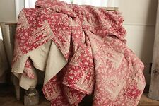 French 18th century Quilt madder red ground resist printed 102X90