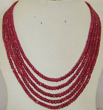Stunning 5-row 2x4 mm natural faceted Red ruby abacus Beads necklace 17-21""