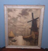 Antique 1920s Heran Chaban Sunset Glow Windmill Lithograph Print Rare Old Framed
