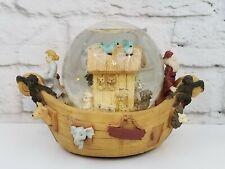 Noah's Ark Musical Snow Water Globe Animals Religious Boat Monkey Rhino Elephant