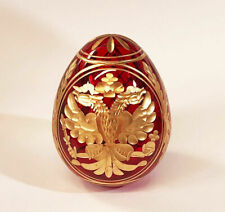 Collectible Genuine Russian Glass Red Egg AUTHENTIC Russian Double Headed Eagle