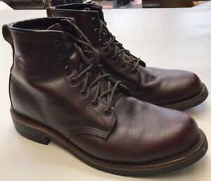 Chippewa Boots Brown Work Leather Boots Made in USA Size 9.5 D Mens