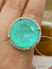 1800$ VALUE LUXURIOUS NATURAL NEON GREEN COLOMBIAN EMERALD MUZO 50CT RING 18KGL