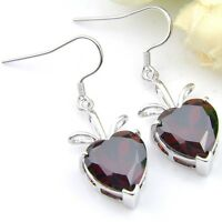Dazzling Heart Shape Fire Red Garnet Zirconia Gems Silver Dangle Earrings