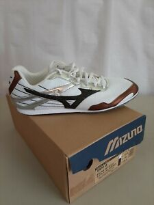 Men's Mizuno Tempo LD Track and Field Shoes Size 11.5 white brown black spikes