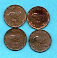 More details for 4 x 1956 farthing coins. elizabeth ii. scarce, key date. 1/4d. job lot.