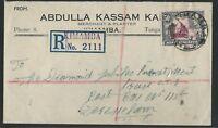 KUT - Tanganyika 1953 Abdulla Kassam registered to Dar-es-Salaam, KGVI, by train